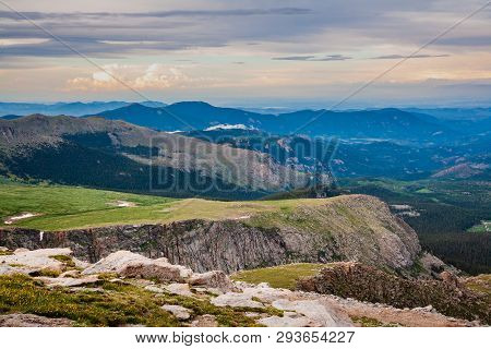 The View From Mt. Evans. Scenic Landscape Of The Northern Colorado Rocky Mountains.