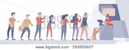 Angry People Queue In Supermarket With Cashier, Where To Buy Concept Of Shop Assistant. Selling Inte