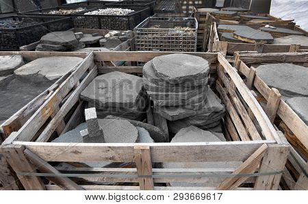 stonework basket with sand stone plate for construction industry. poster