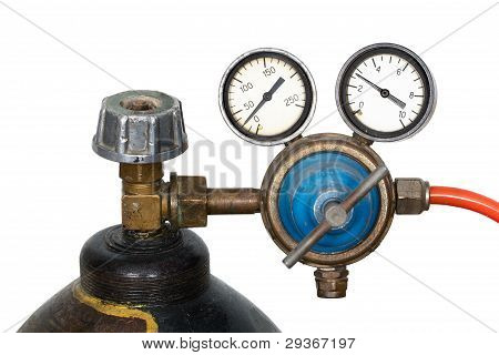 Gas pressure regulator with manometer isolated on white background poster