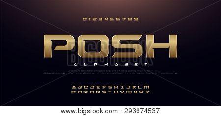 Elegant Sport Gold Metal Chrome Alphabet Font. Typography Modern Style Golden Fonts For Technology,