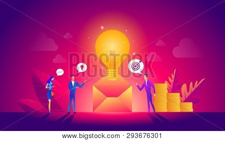 Vector Illustration, Online Assistant At Work. Manager At Remote Work, Searching For New Ideas Solut