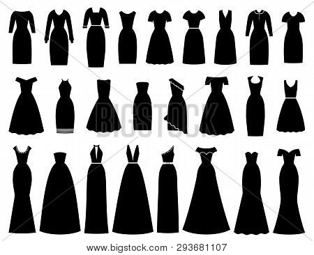 Dress Icon For Women. Vector. Evening, Cocktail, Business Dresses. Black Silhouette Apparel Set Isol