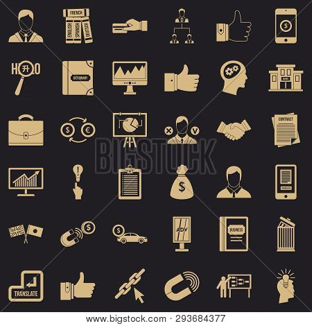 Business Computer Icons Set. Simple Style Of 36 Business Computer Vector Icons For Web For Any Desig