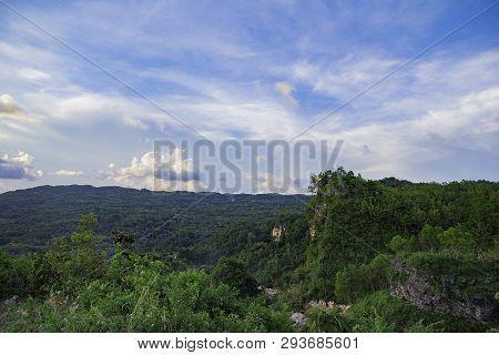 Forest On Bantul View From Paragliding Hill Watugupit At Yogyakarta