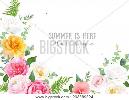Floral Vector Design Horizontal Frame.pink, Yellow, White Rose, Ranunculus, Garden Flowers, Eucalypt
