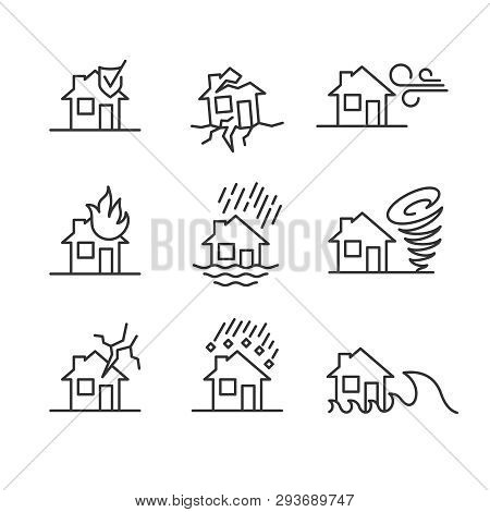 Natural Disasters Line Style Symbols. Accidents With House Icons Set.