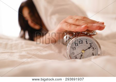 Oversleep Woman Waking Up Late Turning Off Alarm Clock. Morning Routine, Early Awakening, Lack Of Sl