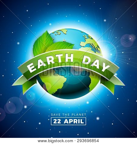 Earth Day Illustration With Planet And Green Leaf. World Map Background On April 22 Environment Conc