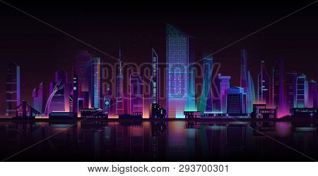 Night City Street Shrouded In Darkness Cartoon Vector Background. Metropolis Skyscrapers Towers, Tow