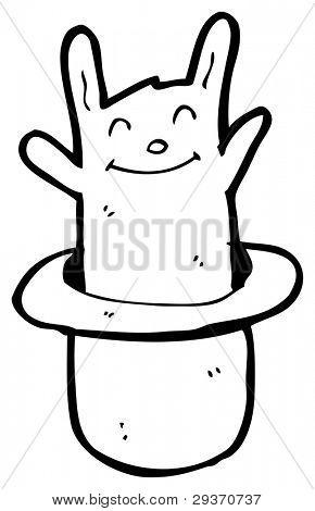rabbit in magicians hat cartoon (raster version)