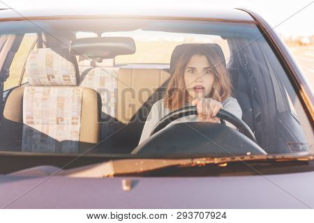 Fearful Driving Woman, Learns To Drive Automobile, Attractive Female Sits At Wheel Alone For First T
