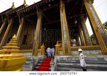 Bangkok, Thailand - April 6, 2018: The Grand Palace - Chakri Day - Decorated In Gold And Bright Colo