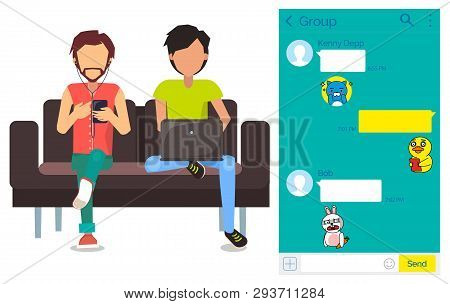 Men On Couch Using Vector & Photo (Free Trial)   Bigstock