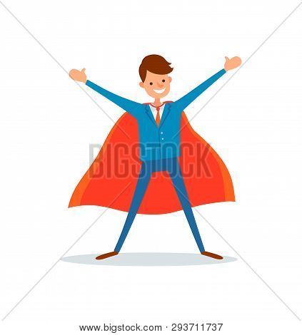 Man Hero In Business Field, Genius Businessman With Super Powers Vector. Manager With Smile Wearing