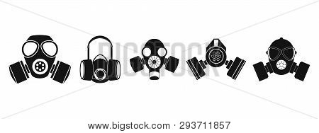 Gas Mask Icon Set. Simple Set Of Gas Mask Icons For Web Design Isolated On White Background