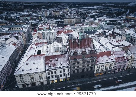 Old Town Hall On Republic Square In Pilsen - Aerial View. Pilsen, Bohemia, Czech Republic.