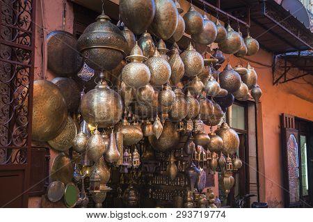 Lanterns Store In Marrakesh. Marrakesh, Marrakesh-safi, Morocco.