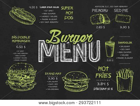 Burger Menu Poster Design On The Chalkboard Elements. Fast Food Menu Skech Style. Can Be Used For La