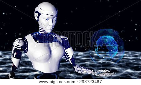Sexy Robot Android Woman Holding A Digital Planet Earth.. Cyborg Future Technology, Artificial Intel