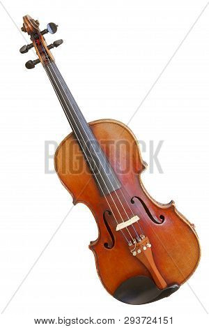 Classic Musical Instrument Old Violin Isolated On White Background