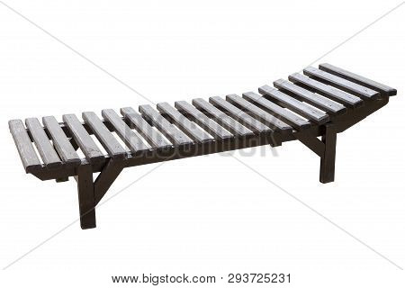 Beach Wooden Chaise Longue Isolated On White Background