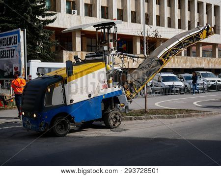 Miercurea Ciuc, Romania-06 April 2019: Road Construction Machinery On The Street.
