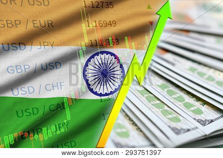 India Flag And Chart Growing Us Dollar Position With A Fan Of Dollar Bills