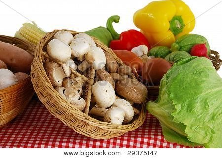 Farmer Market Stand With Rich Variety Of Vegetables