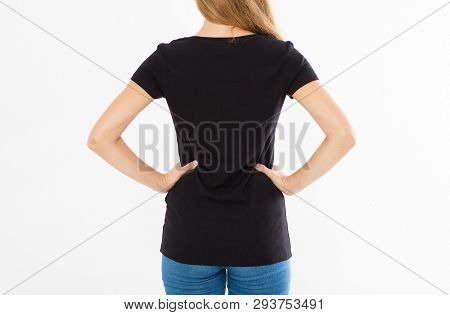 Back Rear View: Woman In Black Tshirt Isolated, Girl In T-shirt Mock Up, Black T Shirt. Midsection F