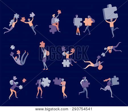 Vector Character Business People With Infographic Of Puzzle Have Solution. Goal Thinking. Cooperatio
