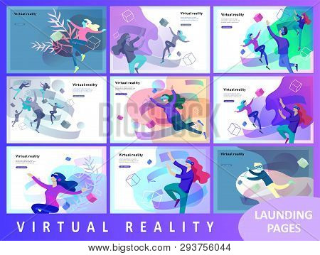 Landing Page Template Set. Man And Woman Wearing Virtual Reality Headset And Looking At Abstract Sph