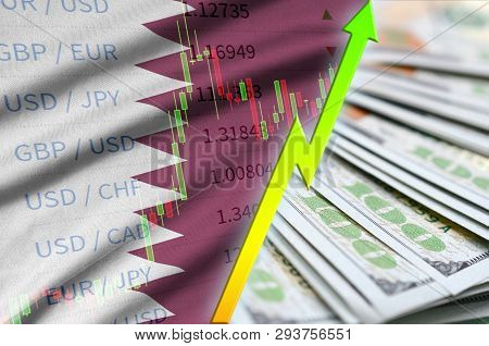 Qatar Flag And Chart Growing Us Dollar Position With A Fan Of Dollar Bills