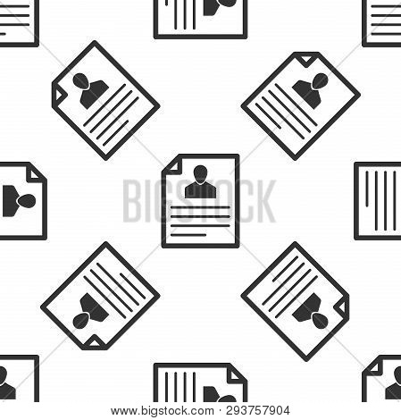 Grey Resume Icon Isolated Seamless Pattern On White Background. Cv Application. Searching Profession