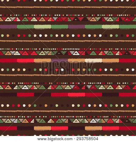 Christmas Seamless Stripe Pattern With Nordic Ornament.