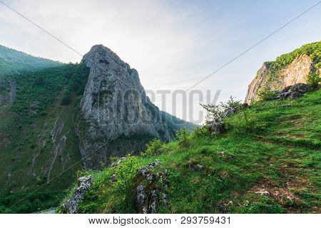 Morning In The Valisoara Gorge, Romania. Wonderful Forenoon In The Canyon. Grassy Slopes, Rocks And