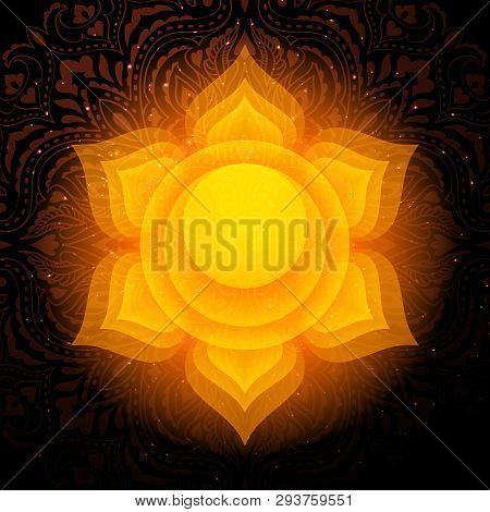 Swadhisthana Chakra Colorful Glowing Symbol With Mandala Background. Spiritual Meditation Element Ve