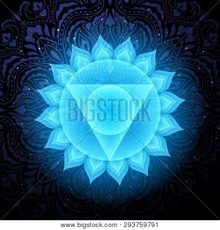 Vishuddha Chakra Colorful Glowing Symbol With Mandala Background. Spiritual Meditation Element Vecto