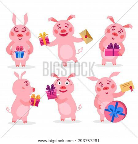 Set Of Christmas Pigs With Christmas Gifts. Vector