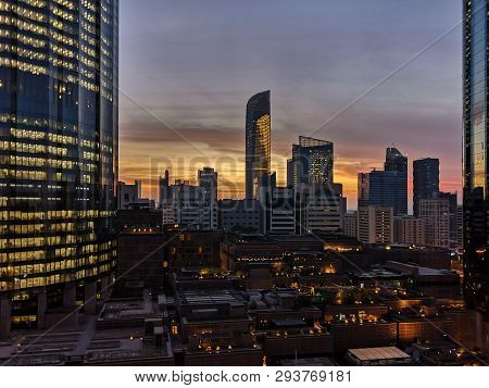 Downtown Abu Dhabi, Wtc (world Trade Center) And Skyline On A Cloudy Sunset - Abu Dhabi, Uae March 3
