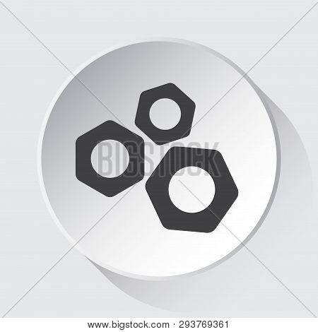 Three Nuts - Simple Gray Icon On White Button With Shadow In Front Of Light Gray Square Background