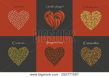Set Of Spices In The Heart Shape. Sesame, Cumin, Cardamom, Chili, Peppercorns, Coriander Isolated Ve