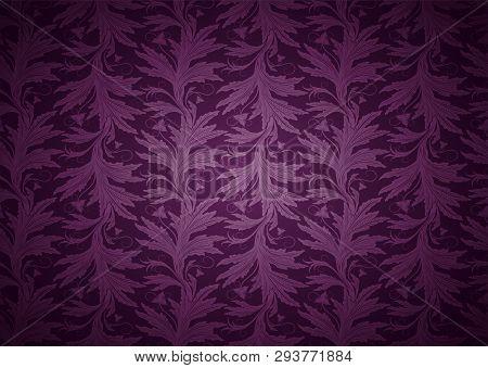 Vintage Gothic Background In Dark Purple, Magenta, Amaranthine With Classic Floral Baroque Pattern,