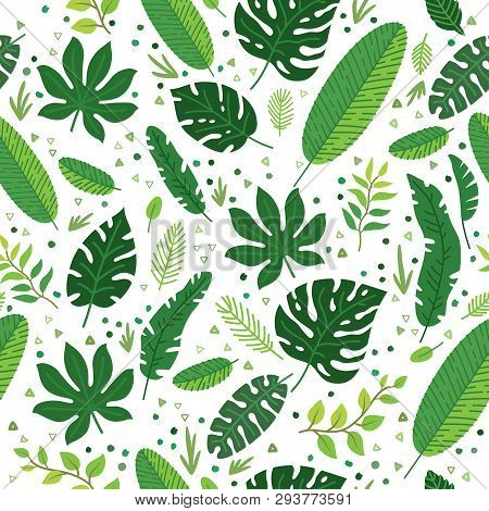 Tropical Leaves Vector Pattern. Summer Equatorial Rainforest With Foliage