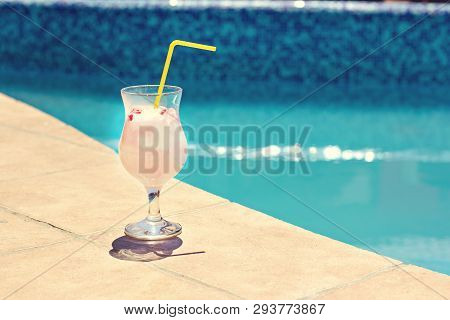 Summer Cocktail On The Background Of The Pool. Pina Colada, Milk Cocktail, Berry Cocktail. Summer Va