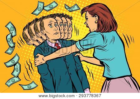 Money Demand. The Wife Shakes Her Husband. Women And Men Unequal Relations, Exploitation. Pop Art Re