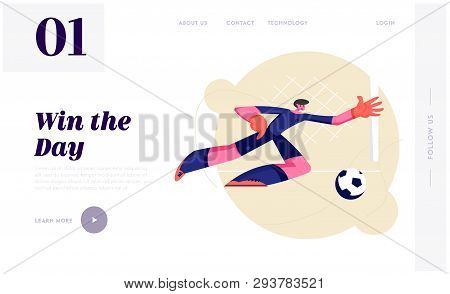 Young Football Goalkeeper In Motion Of Side Jump Trying To Catch Ball. Male Soccer Player Bouncing T