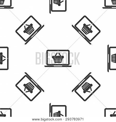 Grey Shopping Basket On Screen Laptop Icon Isolated Seamless Pattern On White Background. Concept E-