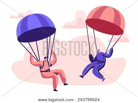 Happy Aged Pensioner Characters Doing Extreme Sport, Skydiving With Parachute, Senior Man And Woman