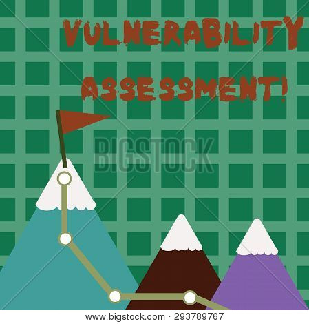 Conceptual hand writing showing Vulnerability Assessment. Business photo text defining identifying prioritizing vulnerabilities Three Mountains with Hiking Trail and White Snowy Top with Flag. poster